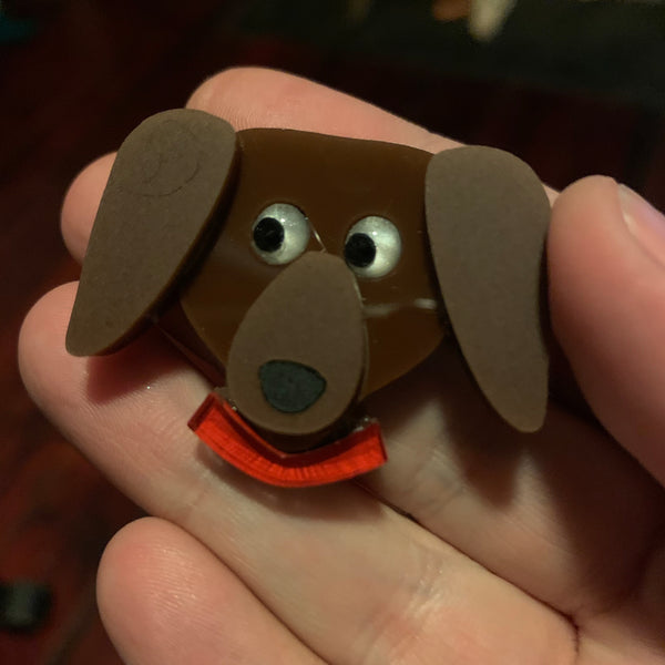 Chorizo the sausage dog mini brooch