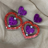 Valentines heart spinner earrings