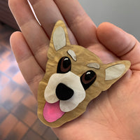 Happy dog brooch