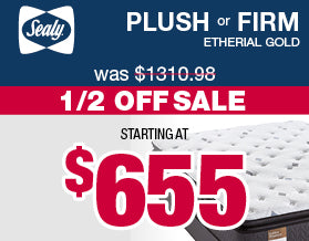 Sealy Plush and Firm Etherial Gold Mattress | Columbus Day Sale