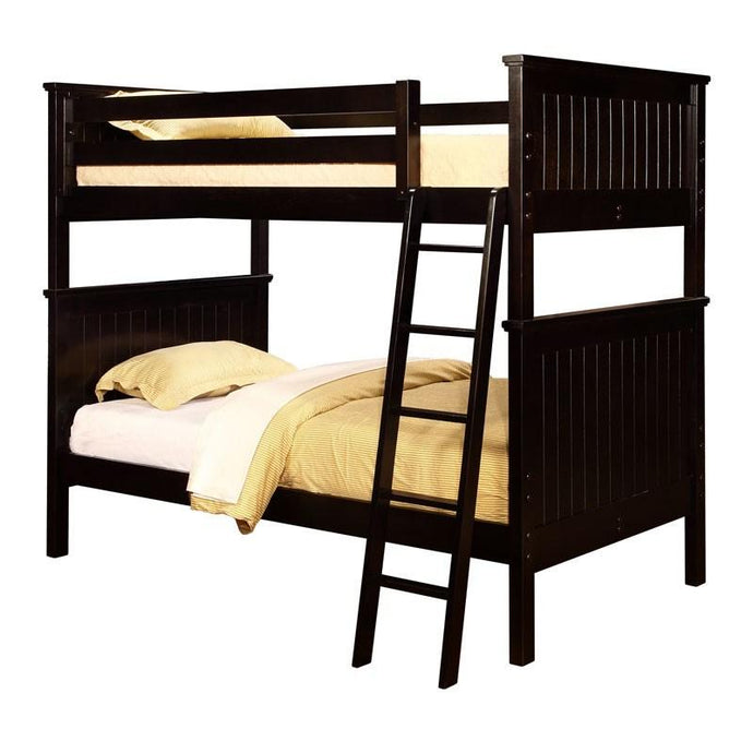 Lakeshore Full Beadboard Bunk Bed with Stairs Espresso-Kids Bedroom Sets-American Mattress