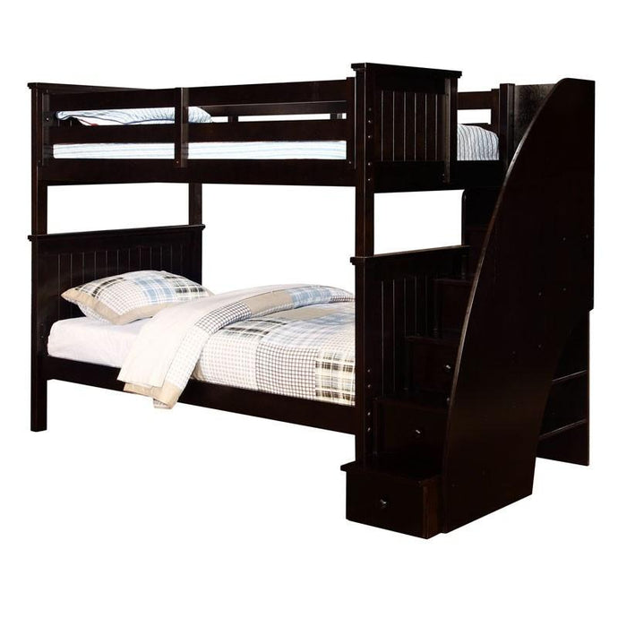 Twin Full Beadboard Bunk Bed with Stairs Espresso-Kids Bedroom Sets-American Mattress