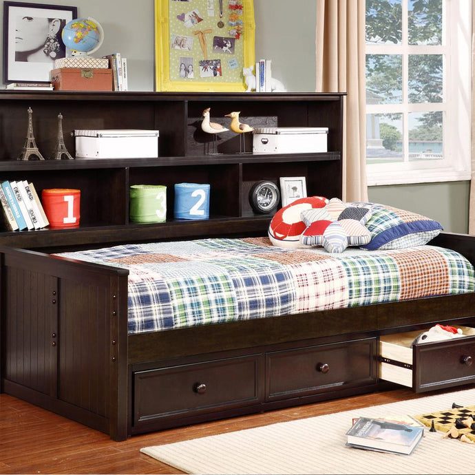 Lakeshore Twin Sideways Bed with 3 Drawer Storage Espresso