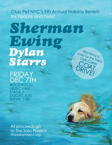 Come out and rock & roll for a good cause! Sherman performs Friday, 12/7 at Rockwood Music Hall