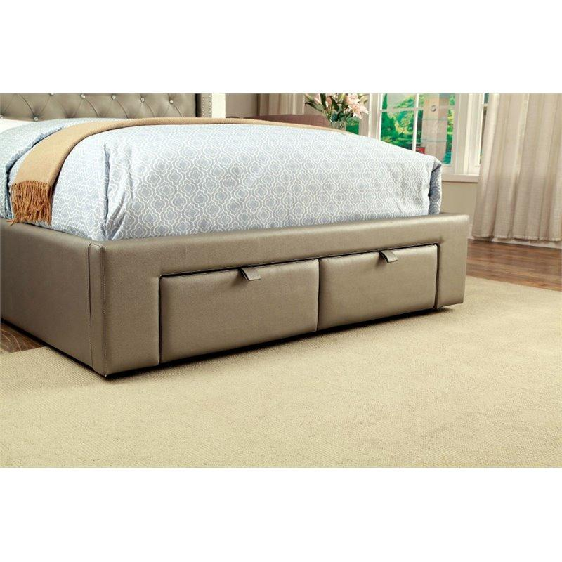 Furniture of America Corina Upholstered Bed IDF-7180 Upholstered Bed Furniture of America