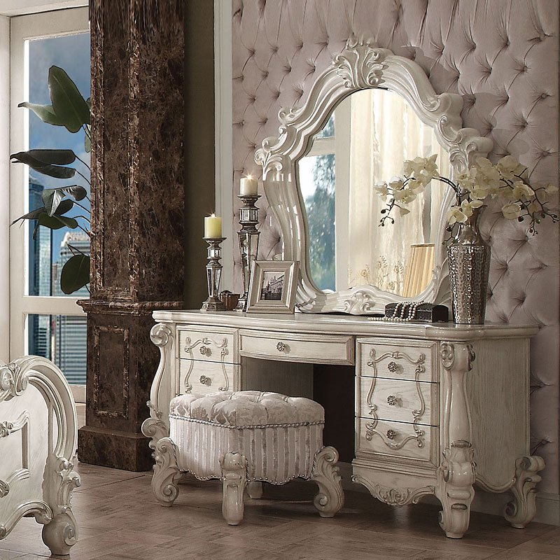 Acme Versailles Bone White Vanity Desk 21137