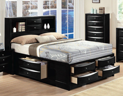 Acme Ireland Bookcase Black Bed 21610Q Bed Acme