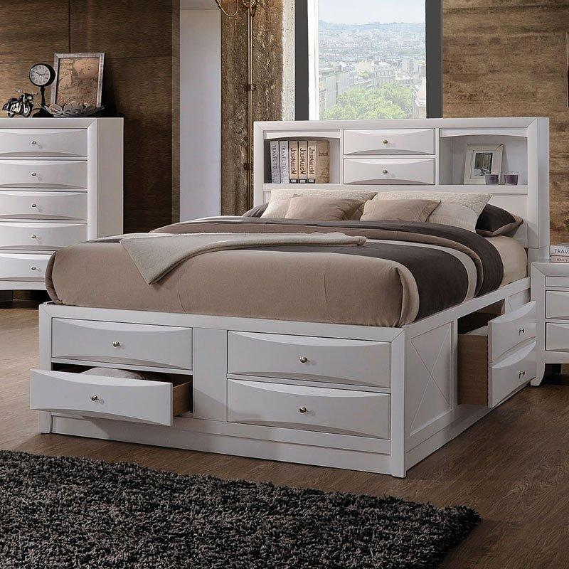 Acme Ireland Bookcase White Bed 21700Q Bed Acme