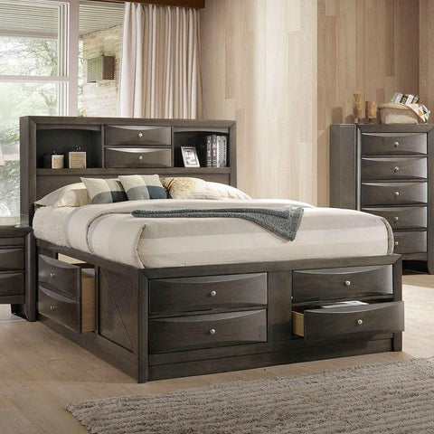 Acme Ireland Bookcase Gray Oak Bed 22700Q Bed Acme