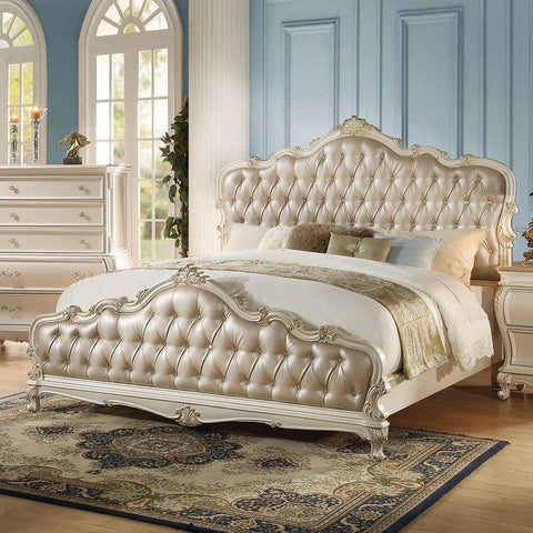 Acme Chantelle Panel Pearl White(Pearl White) Bed 23540Q Bed Acme