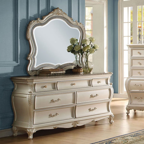 Acme Chantelle Granite Top Pearl White Dresser 23545