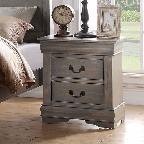 Acme Louis Philippe Antique Gray Nightstand 23863