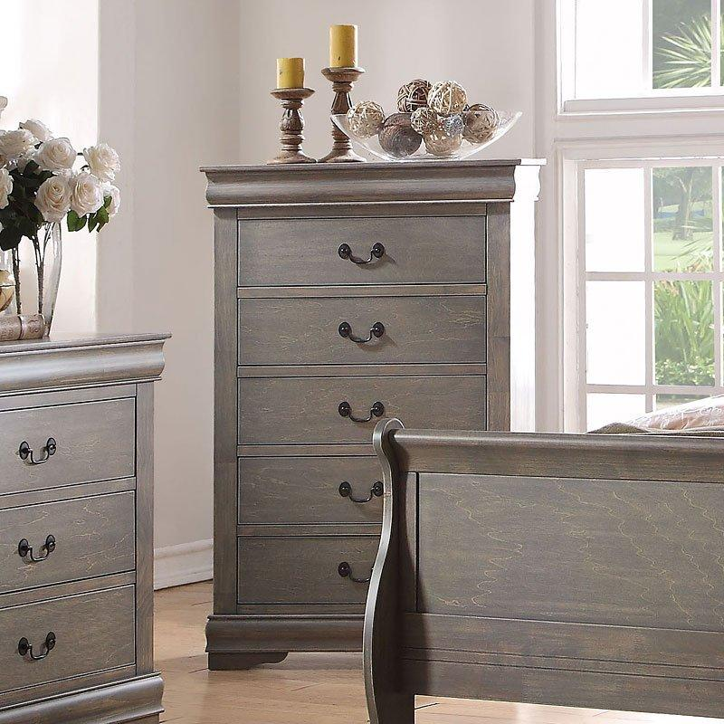 Acme Louis Philippe Antique Gray Chest 23866 Chest Acme