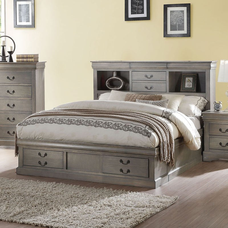 Acme Louis Philippe III Bookcase Antique Gray Bed 24360Q