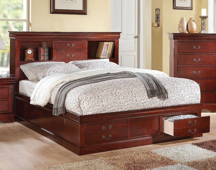 Acme Louis Philippe III Bookcase Cherry Bed 24380Q