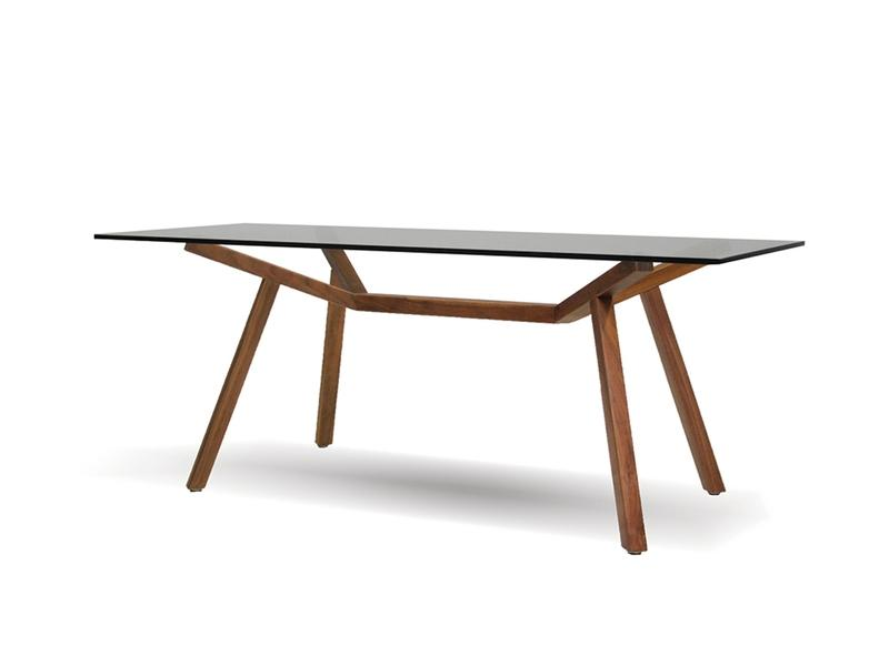 Mobital Trestle Natural Walnut Dining Table DTATRESCLEAAWAL Dining Tables Mobital