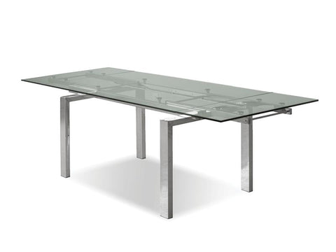 Mobital Cantro Clear Dining Table DTACANTCLEASTEEL Dining Tables Mobital