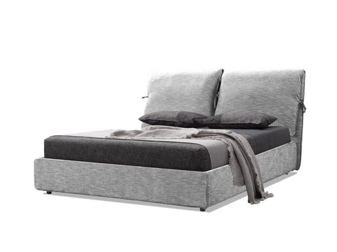 Mobital Plume Heather Grey Chenille Queen Bed BEDPLUMHEATQUEEN Beds Mobital