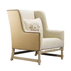 Curations Limited Antwerpen Hemp & Beige Linen Arm Chair 7841.0008.HA015