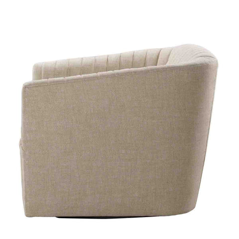 Curations Limited Sete Strip Linen Swivel Arm Chair 7841.0044.A015 Chair Curations Limited