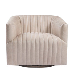 Curations Limited Sete Strip Granite Leather Swivel Arm Chair 7841.3044.GNL Chair Curations Limited