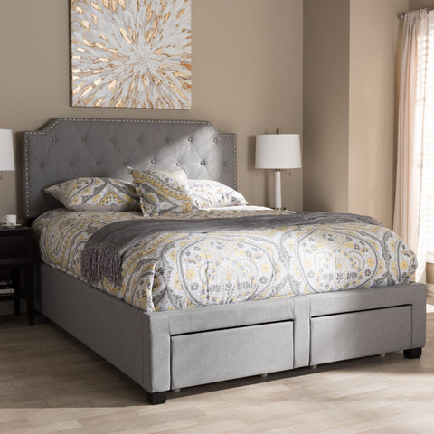 Baxton Studio Aubrianne Modern And Contemporary Gray Bed WA8024 Beds Baxton Studio