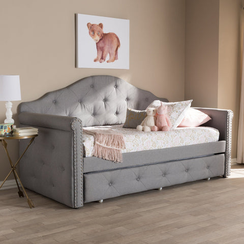 Baxton Studio Emilie Modern & Contemporary Gray Daybed with Trundle WA5011-Gray Daybeds Baxton Studio