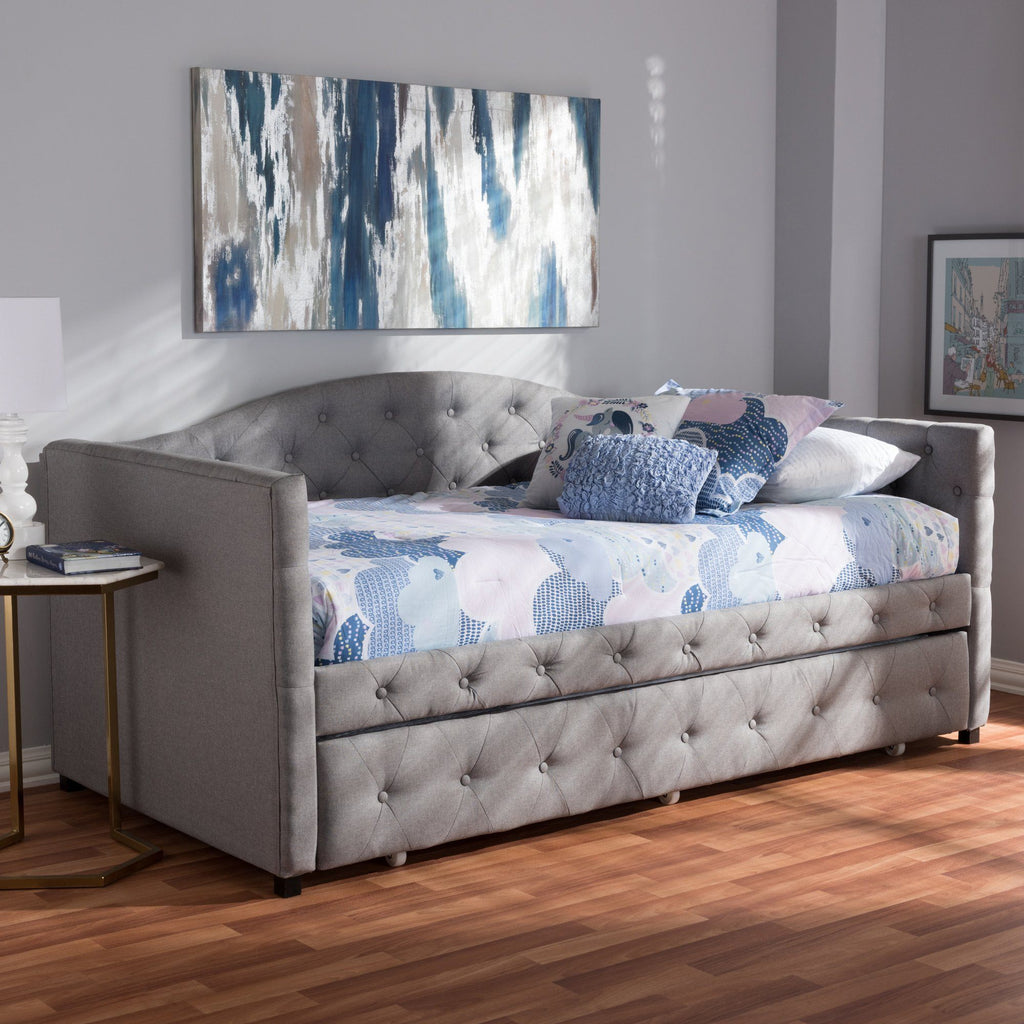 Baxton Studio Gwendolyn Modern & Contemporary Daybed with Trundle WA5012-Gray Daybeds Baxton Studio