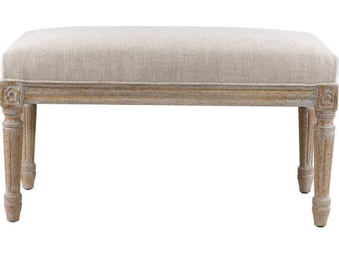 Curations Limited French Smaller Linen Bench 7801.0007.A015 Benches Curations Limited