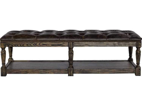 Curations Limited Valencia Valencia Leather Tufted Ottoman 7801.1103 Ottoman Curations Limited