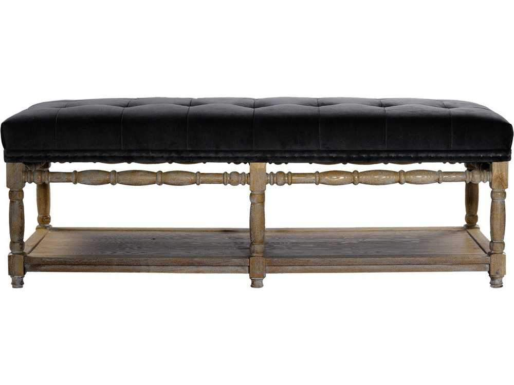 Curations Limited Napa F Slate Velvet Bench 7801.1105 Benches Curations Limited