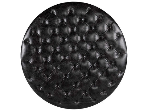 Curations Limited Round Tufted Slate Leather Ottoman 7801.1109 Ottoman Curations Limited