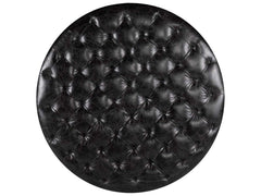Curations Limited Round Tufted Slate Leather Ottoman 7801.1109