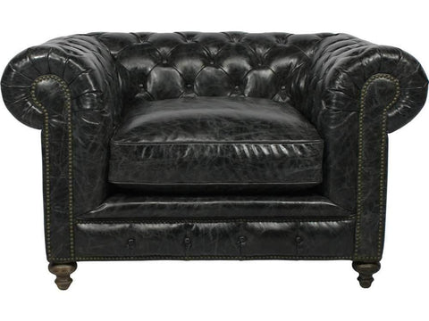 Curations Limited Cigar Club Slate Slate Leather Arm Chair 7841.3002.2 Sofas Curations Limited