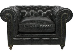 Curations Limited Cigar Club Slate Slate Leather Arm Chair 7841.3002.2