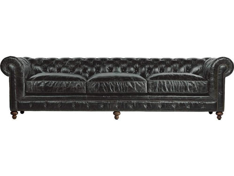 "Curations Limited 118"" Cigar Club Slate Leather Sofa 7842.3008.2 Sofas Curations Limited"