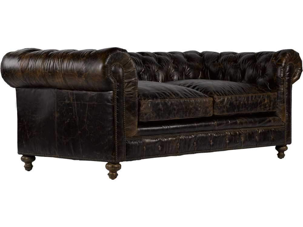 "Curations Limited 90"" Cigar Club Valencia Leather Sofa 7842.3009.1 Sofas Curations Limited"