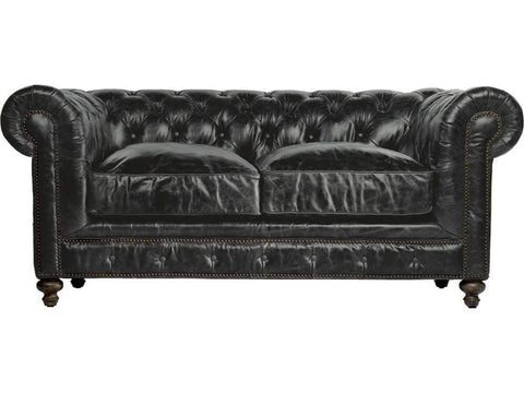"Curations Limited 77"" Cigar Club Slate Leather Sofa 7842.3010.2 Sofas Curations Limited"