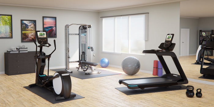 Home gym with a Precor TRM 781 treadmill, EFX 885 elliptical, and FTS Glide Functional Training System