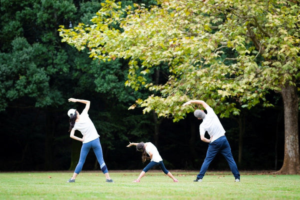 Family exercising doing Yoga in a park