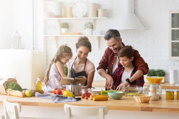 A family cooking healthy meals