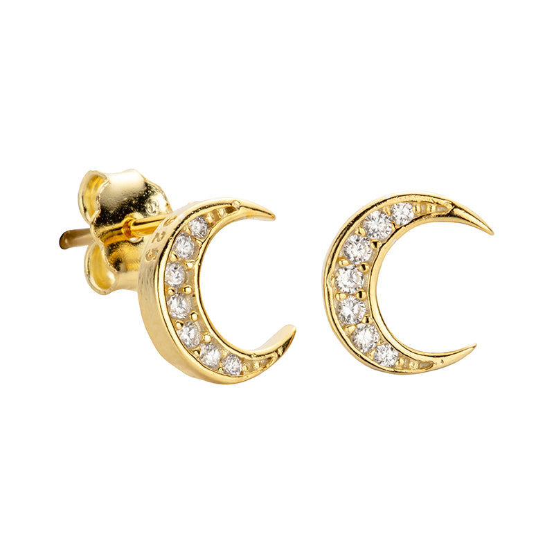 Phoebe Gold Moon Stud Earrings - Shop Cameo Ltd