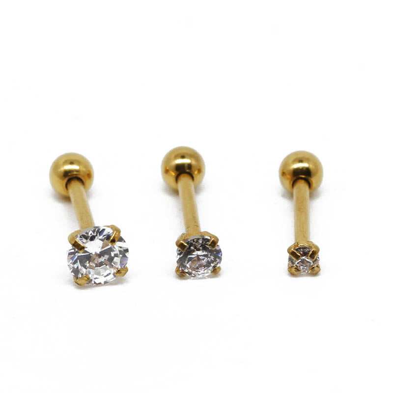 Gold Solitaire Cartilage Set - Shop Cameo Ltd