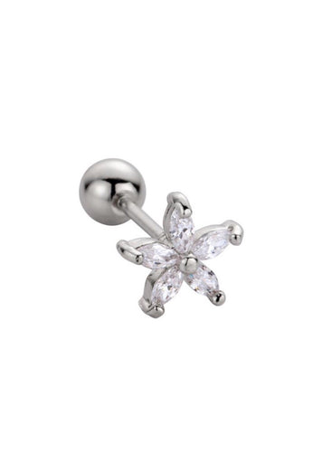 Silver Snowdrop Barbell Earring