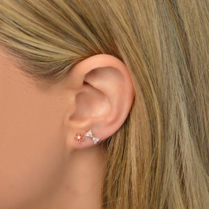 Rose Gold Bow Barbell Earring