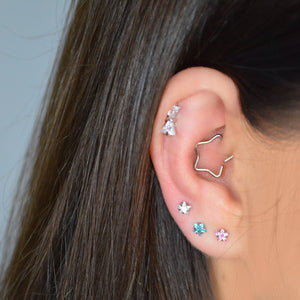 silver bow cartilage jewellery jewelry