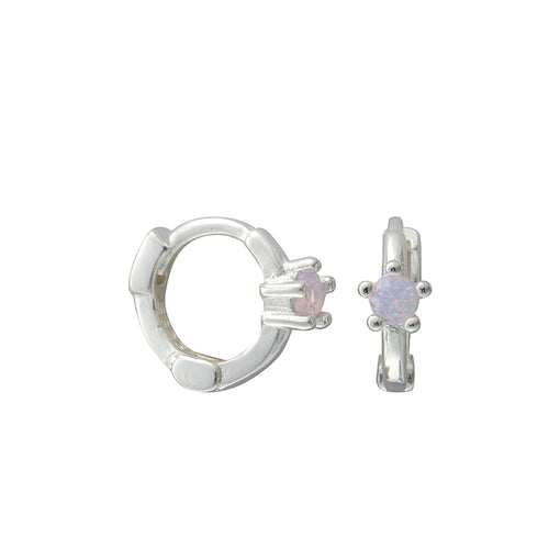 Minnie Rose Quartz Silver Huggies - Shop Cameo Ltd