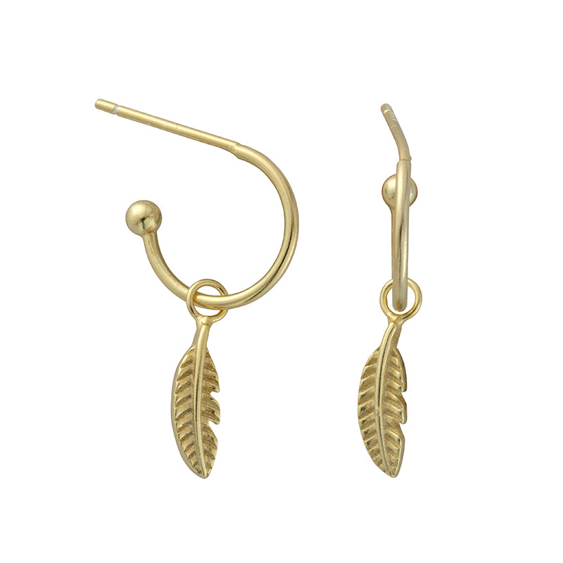 Grace Gold Feather Hoops - Shop Cameo Ltd