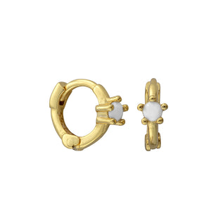 Minnie White Opal Solitaire Gold Huggies - Shop Cameo Ltd
