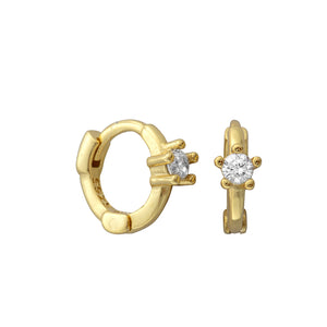 Minnie Solitaire Gold Huggies - Shop Cameo Ltd